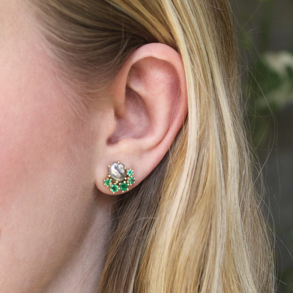 The Pearl + Emerald Stud