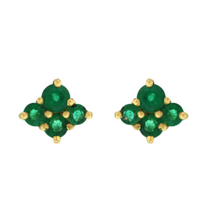 The Four Cluster Emerald Stud