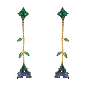 The Emerald and Sapphire Chain Earring