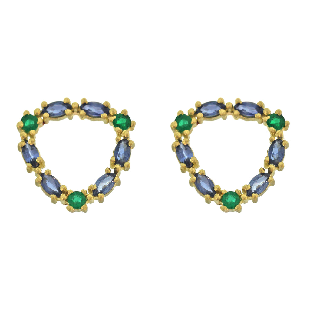 The Sapphire and Emerald Loop Stud