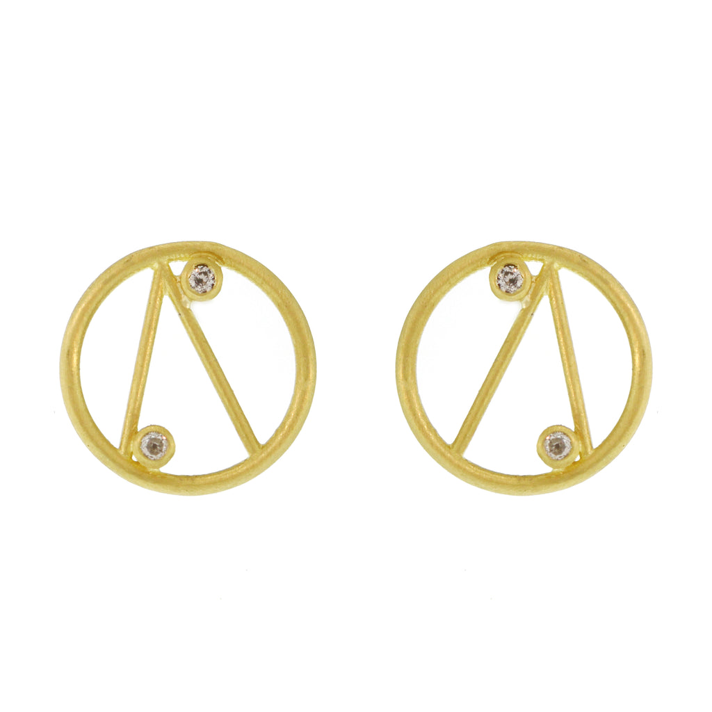 The Geometric Line Circle Stud
