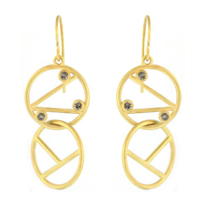 The Double Geometric Line Drop Diamond Earring