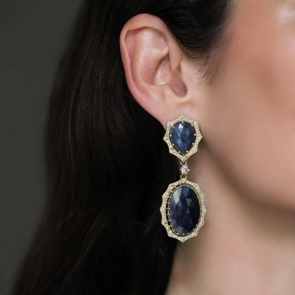 The Sapphire + Diamond Double Drop Josephine Earring