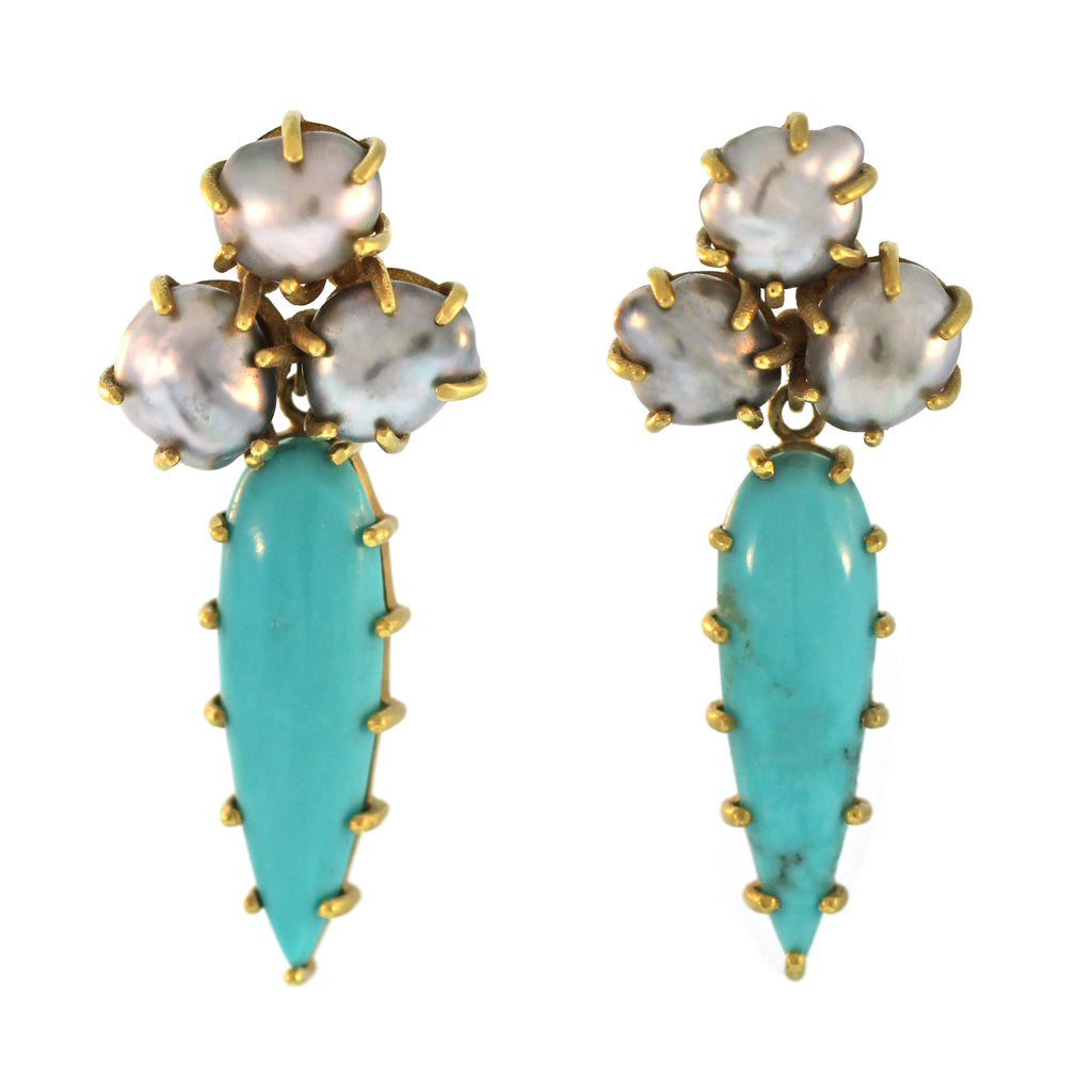 The Turquoise & Keshi Pearl Drop Earring