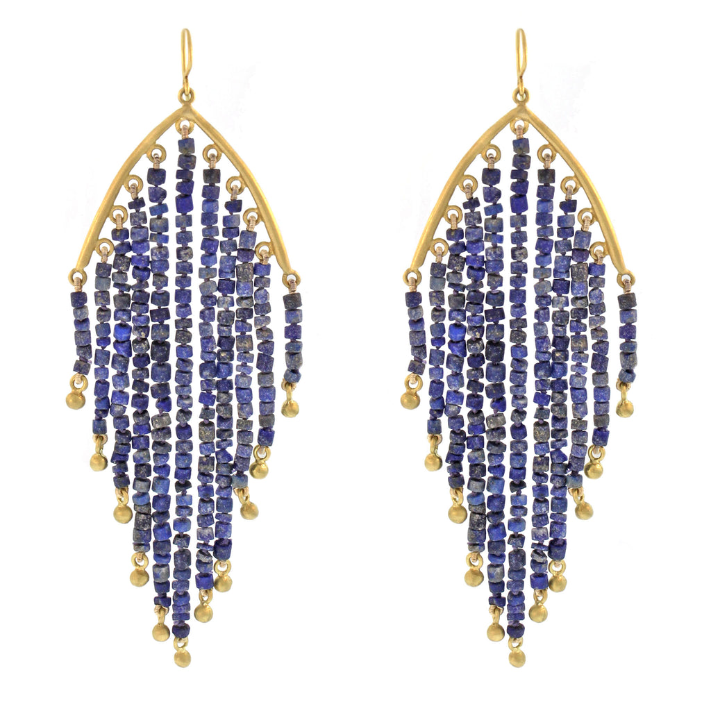 The Lapis Feather Earring