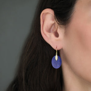 The Oval Lapis and Lotus Leaf Earring