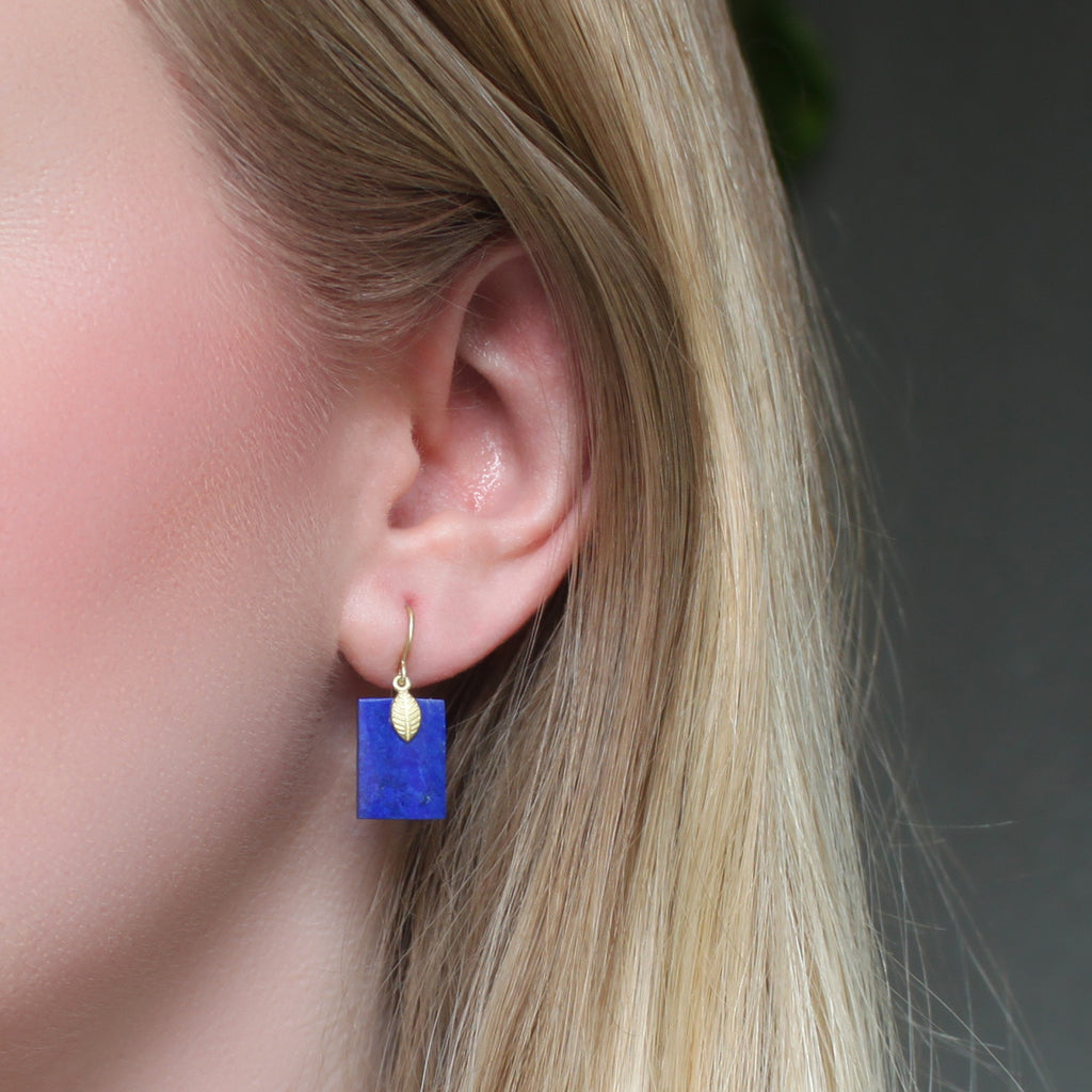 The Lapis + Lotus Earring