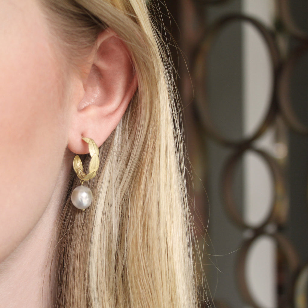 The Pearl Drop Lotus Leaf Hoop Earring