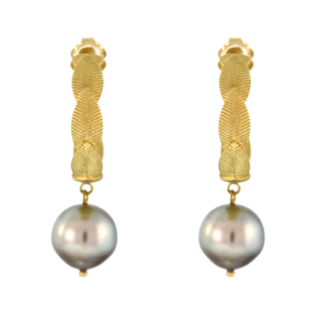 The Pearl Drop Lotus Hoop Earring