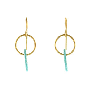 Mini Hoop Earrings with Turquoise Drop