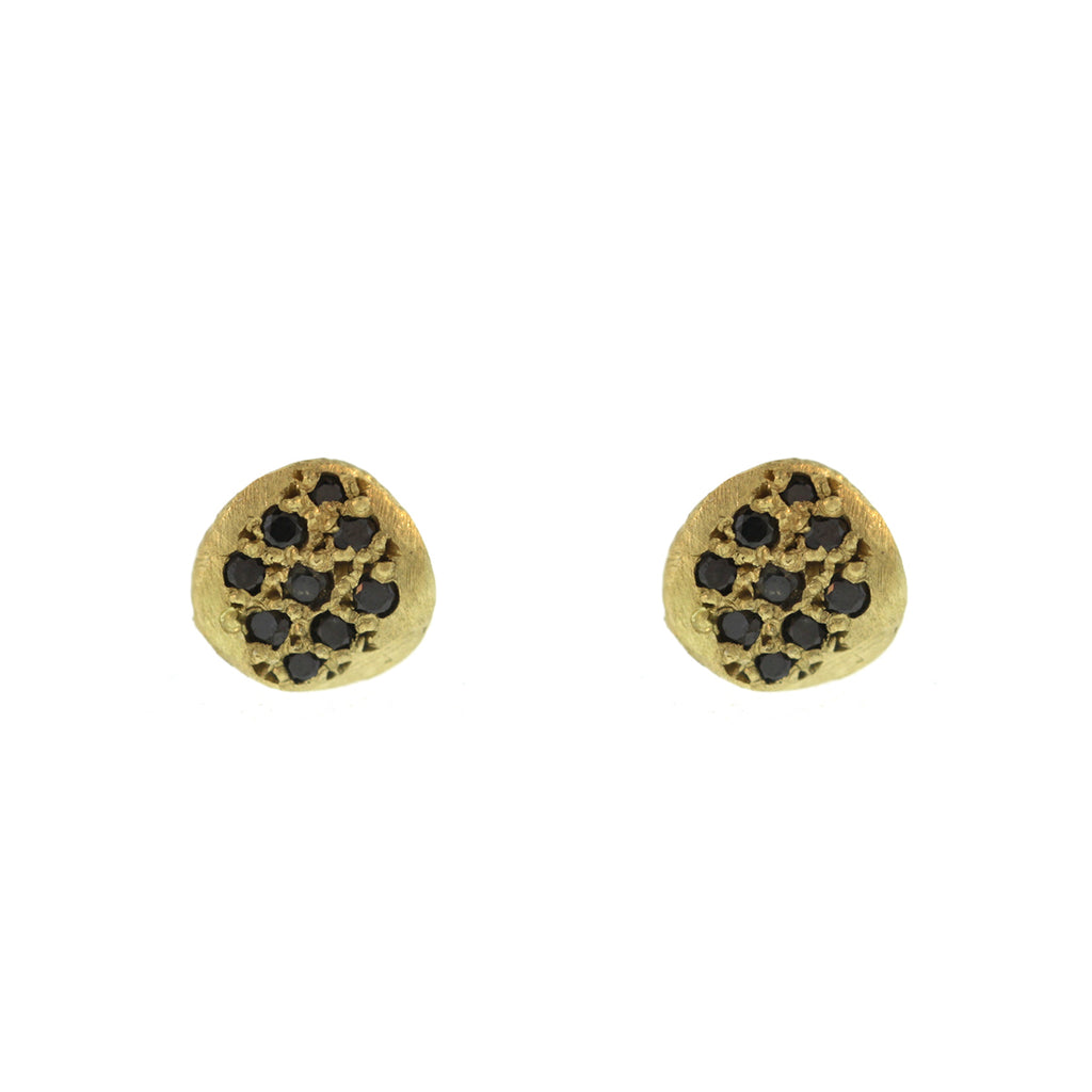 The Black Diamond Small Pavé Disc Stud Earring