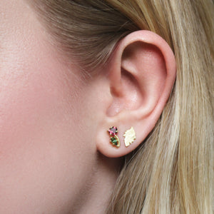 The Tourmaline Heart Flower Stud