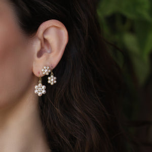 Small Pearl Flower Cluster Earring