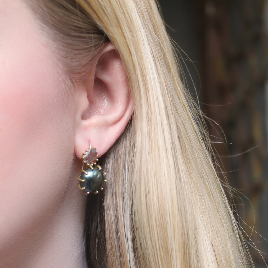 The Tahitian Pearl + Diamond Slice Earring