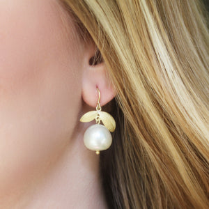 The Pearl Lotus Leaf Earring