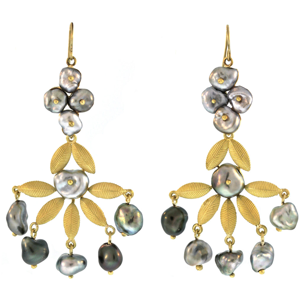 The Pearl and Lotus Leaf Tiered Earring