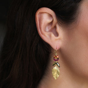The Tourmaline Flower Holly Leaf Earring