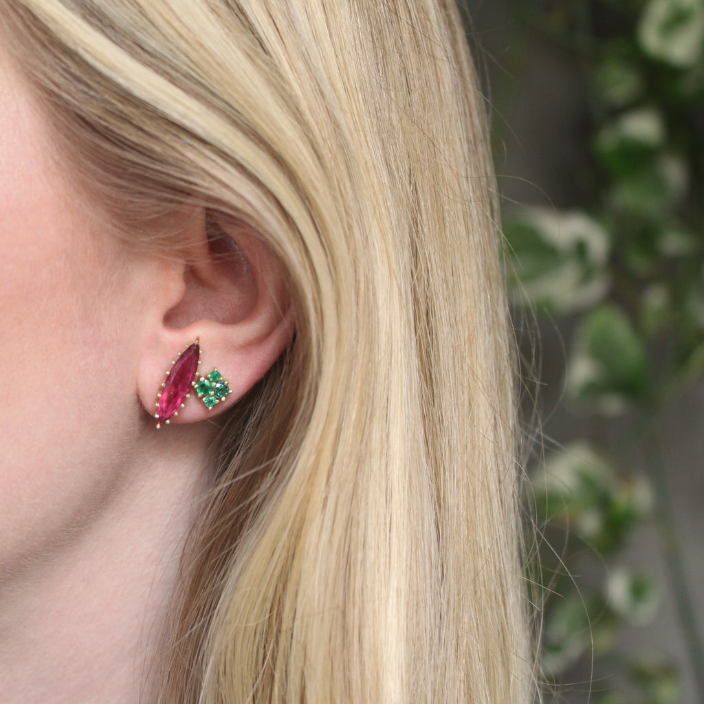 The Pink Tourmaline Marquise Single Stud