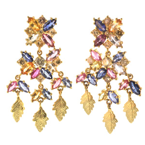The Sapphire, Diamond and Lotus Dangle Earring
