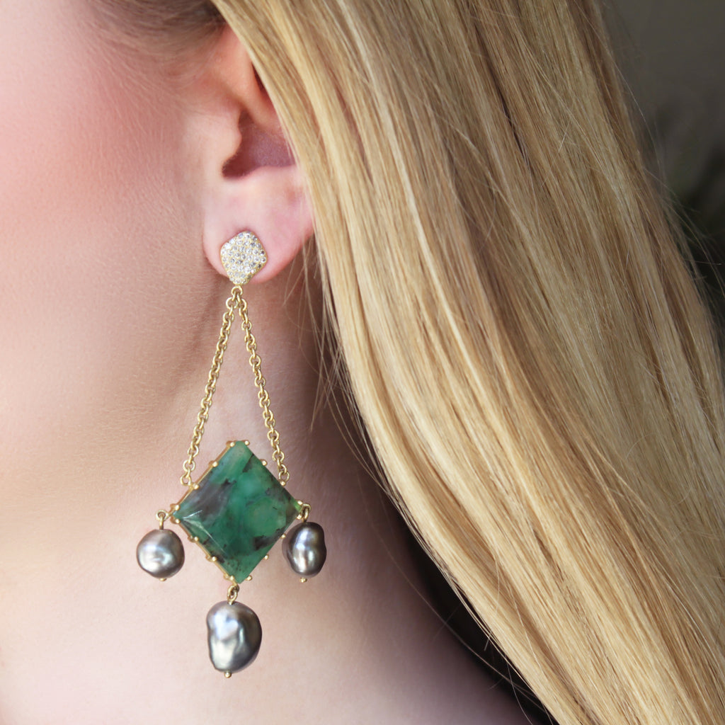 The Emerald, Pearl + Diamond Pavé Earring