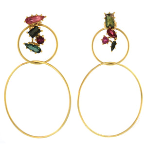 The Tourmaline Cluster Double Hoop Earring