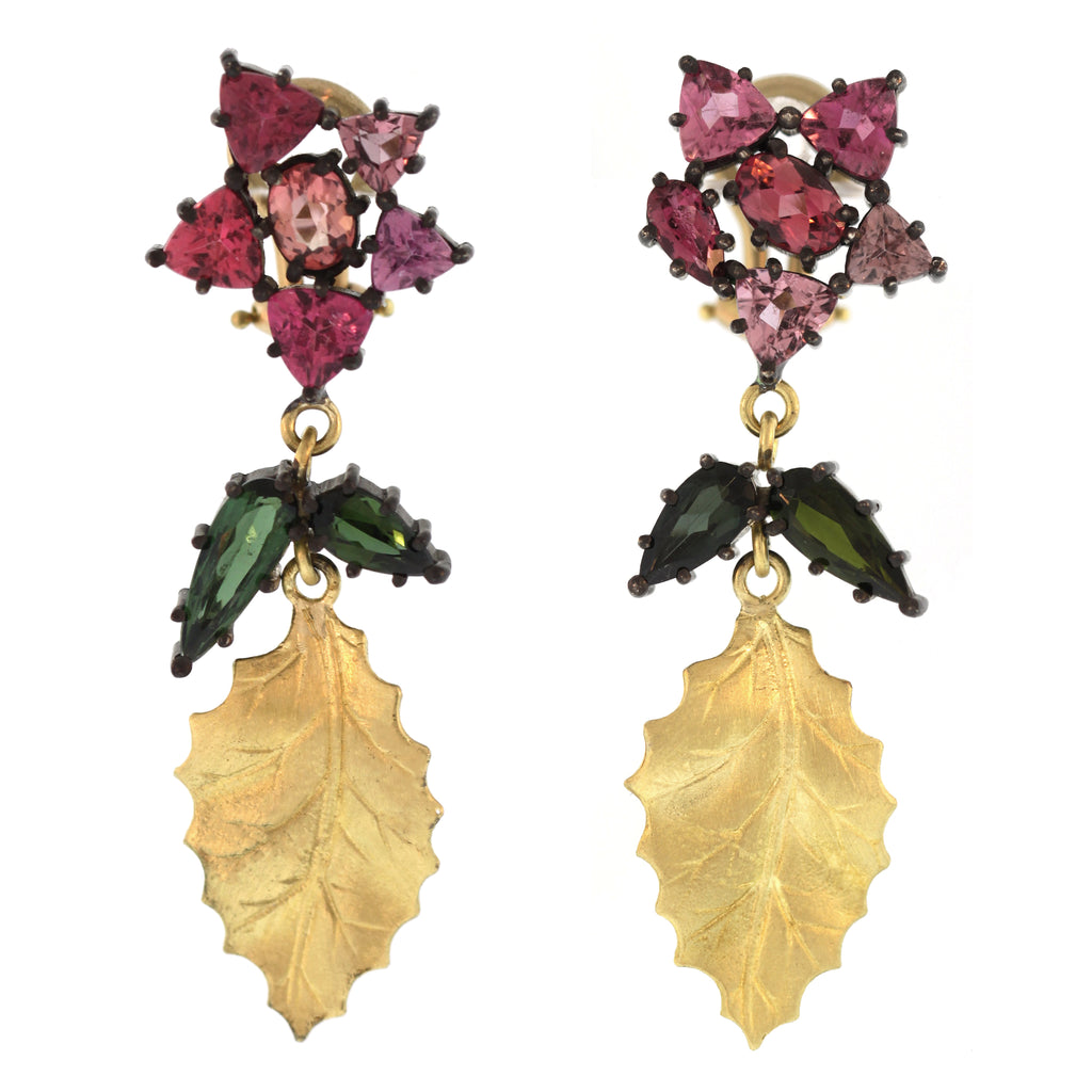The Tourmaline Flower Leaf Drop Earring