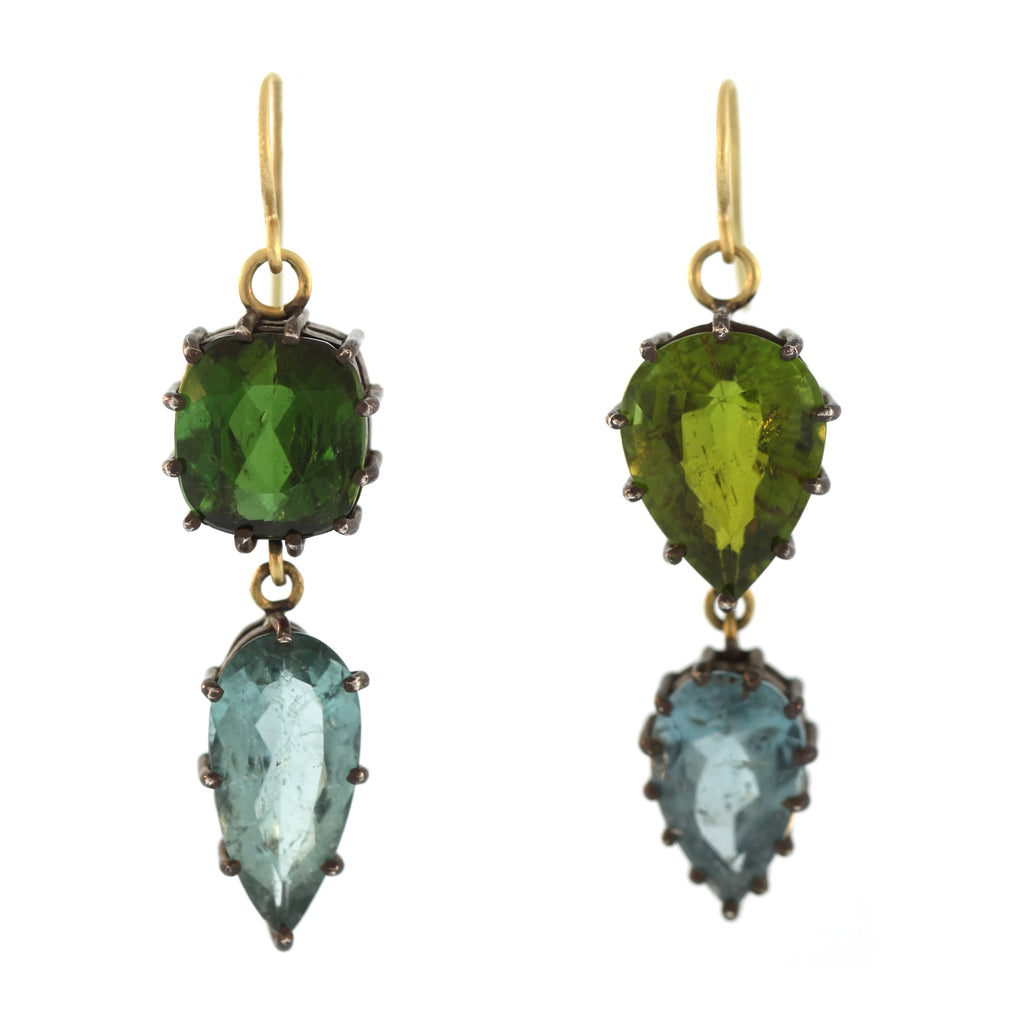 The Blackened Silver + Tourmaline Dangle Earring