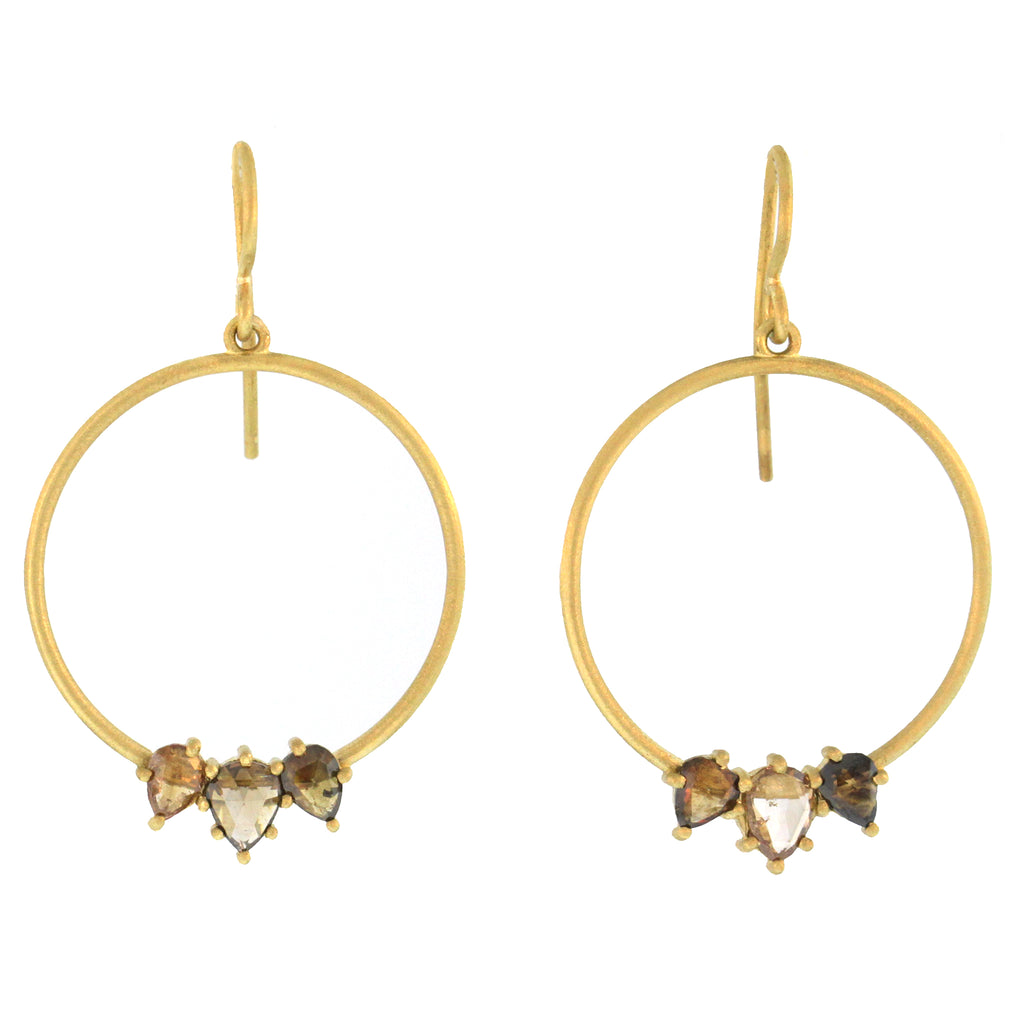 The Triple Pear Cognac Diamond Hoop Earring