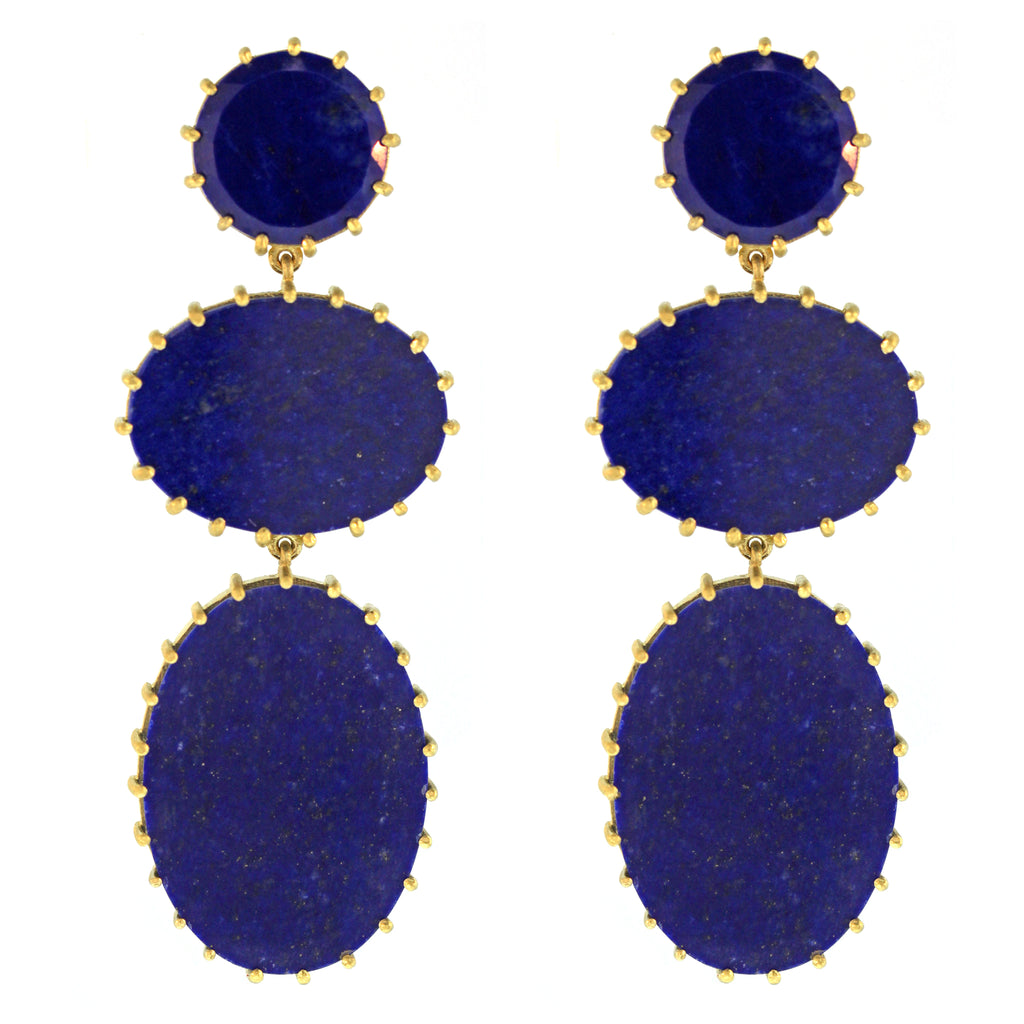 The Lapis 3 Stone Drop Earring