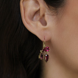 The Pink Tourmaline Asymmetrical Drop Earrings
