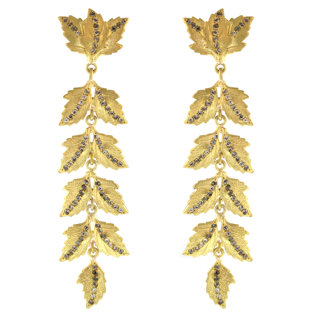 The Longest Double Oak Leaf and Diamond Earring