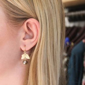 The Oak Leaf Pearl Drop Eleanora Earring