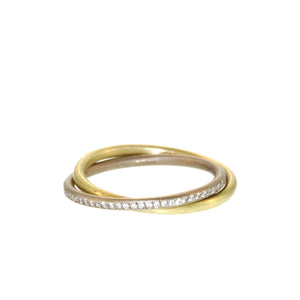 The Slim Gold and Diamond Entwined Bands
