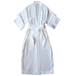Asteria Kimono Robe in Swiss Cotton Fantasie Pique with Lace