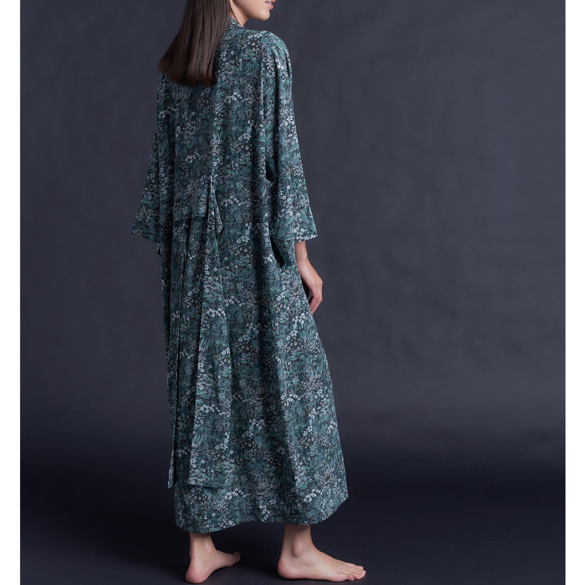 Asteria Kimono Robe in Liberty of London Faria Flowers Silk Crepe De Chine