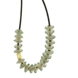 African Glass Bead Necklace in Grey