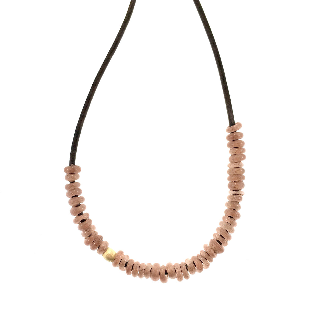 African Glass Bead Necklace in Dusty Rose