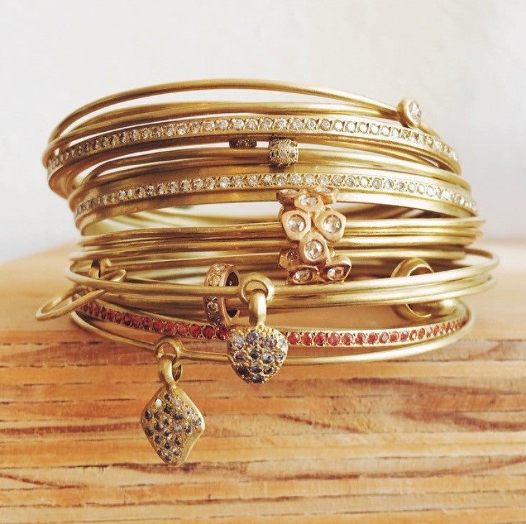 The Trio of Bangles with Diamond Lace Bead