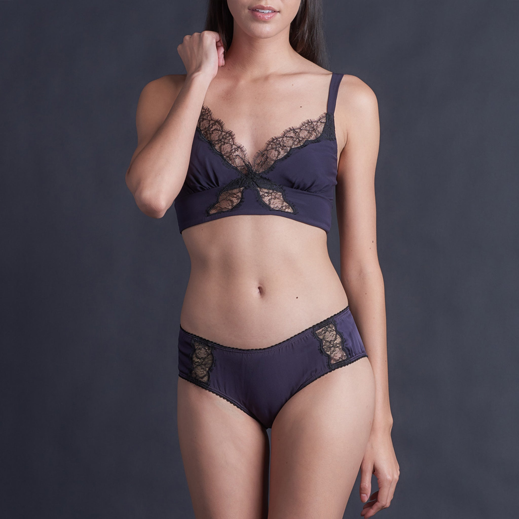 Gaia Bralette in Aubergine Stretch Silk Charmeuse