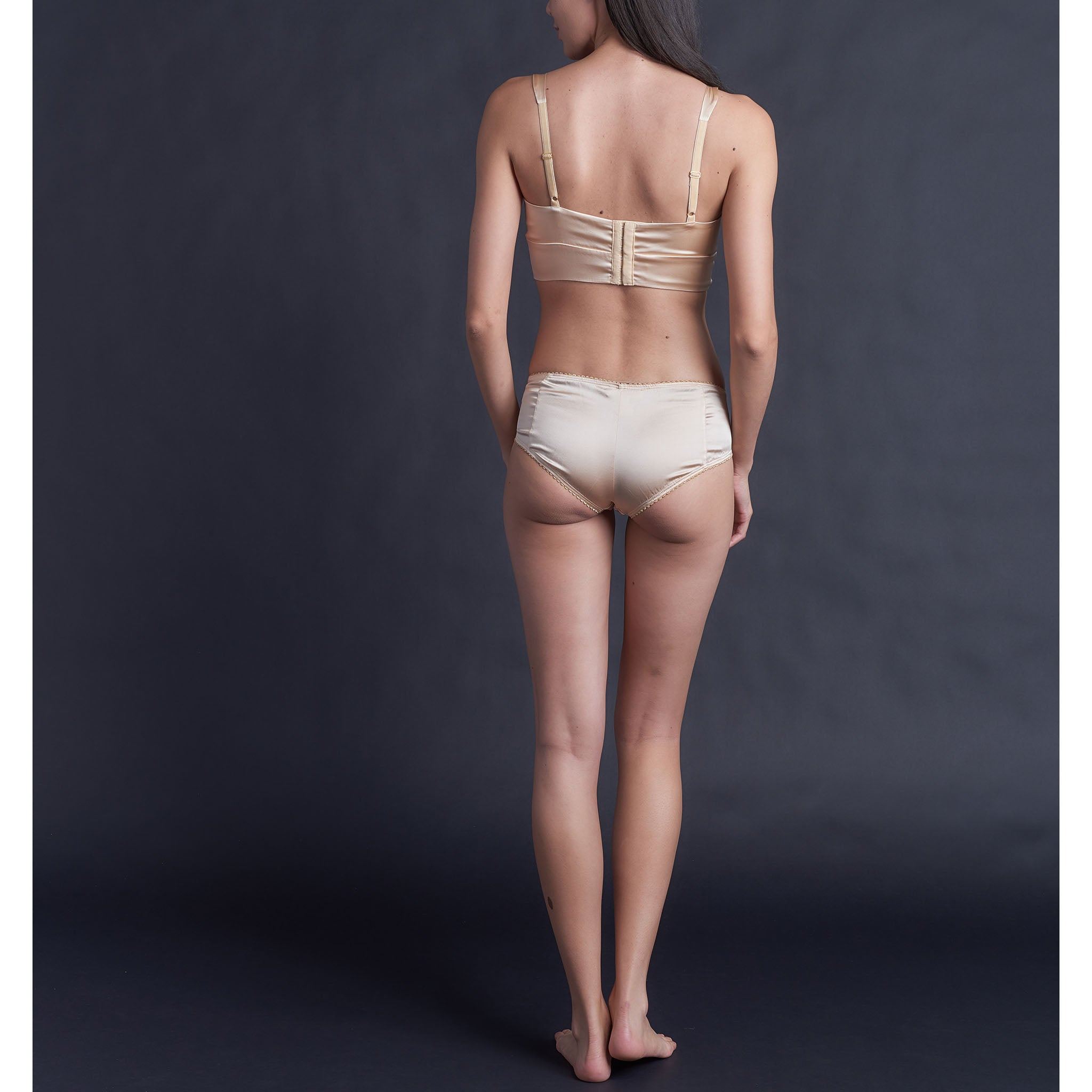 Hera Brief in Rose Gold Stretch Silk Charmeuse