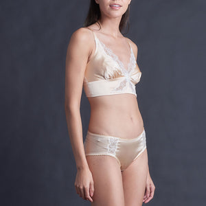 Gaia Bralette in Rose Gold Stretch Silk Charmeuse