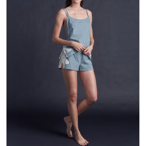 Olwen Camisole in Italian Cotton Green Blue Stripe