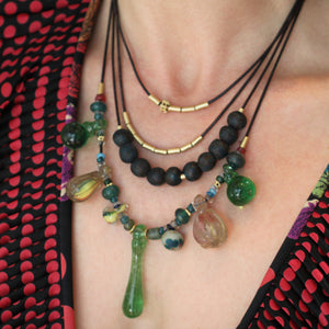 Antique Chinese Gourd Bead Necklace - Seven Drop