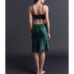 Kali Half Slip in Forest Silk Charmeuse