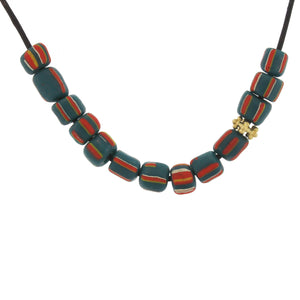 Teal and Red Striped Glass Bead Necklace