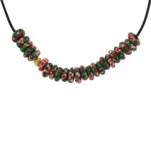 A Green & Red Marbleized Glass Bead Necklace