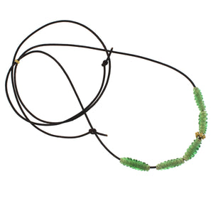 Green Spiral Glass Bead Necklace