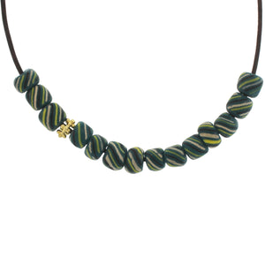 Striped Green Indonesian Glass Beads on Leather