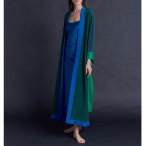 Asteria Kimono Robe Color-block Greens Silk Crepe De Chine