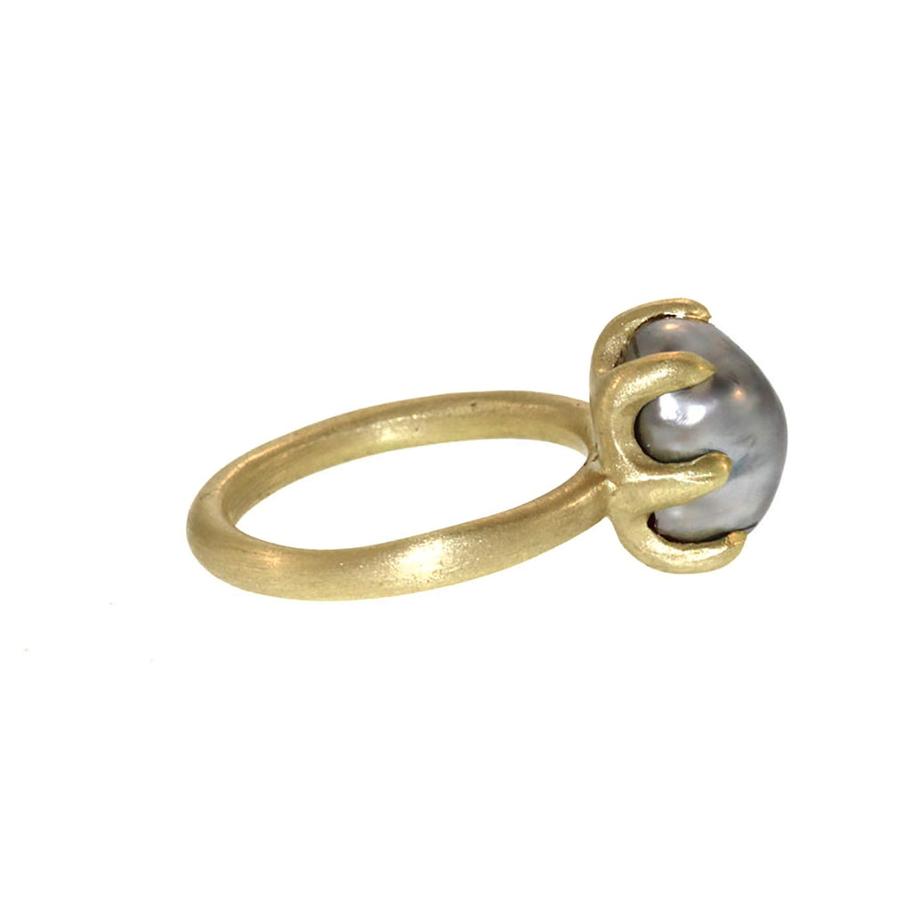 Grey Keshi Pearl Engagement Ring